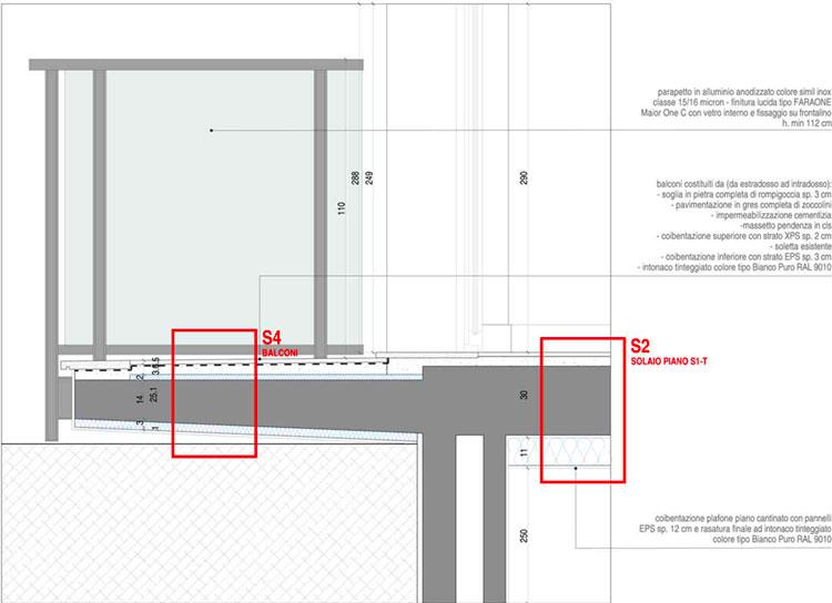 riqualificazione energetica con il cappotto termico - dettaglio solaio balconi