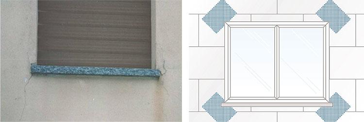 Applicazione dei fazzoletti retati agli ancoli delle finestre